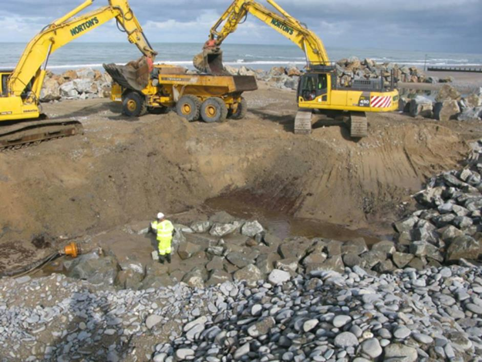 Archaeologists recording archaeological deposits in mitigation during the Borth coastal defence Scheme.