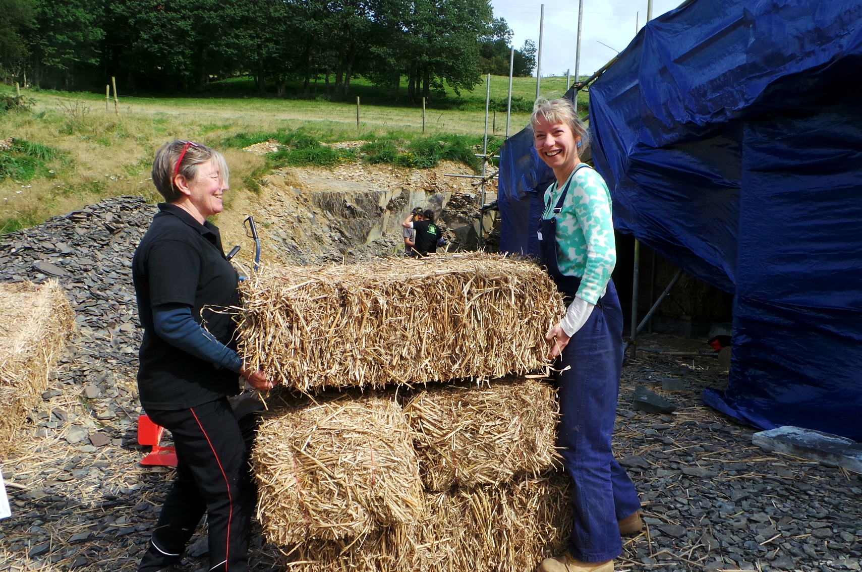 installing the miscanthus bales
