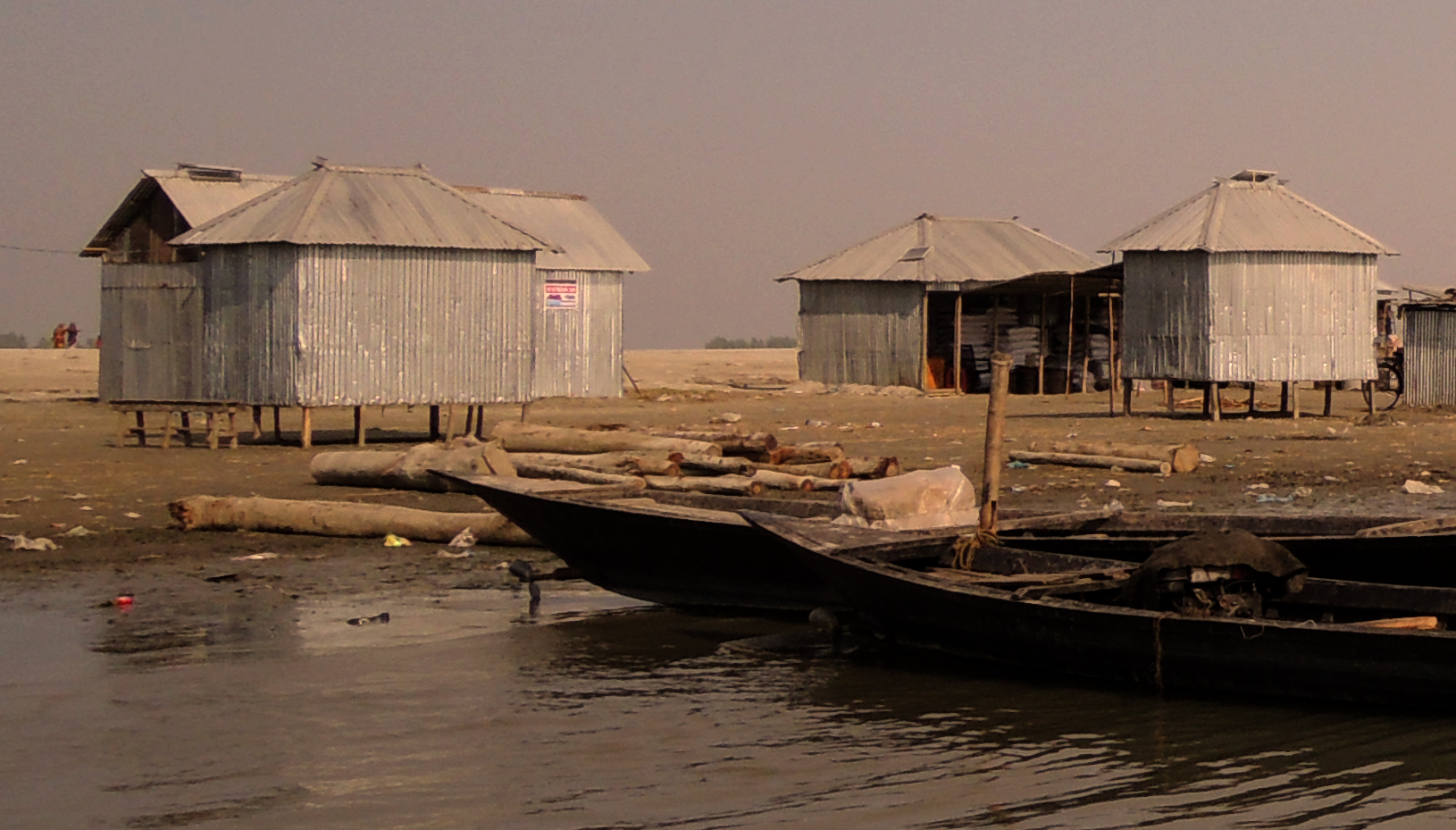 Shelters on the Brahmaputra River in Bangladesh.