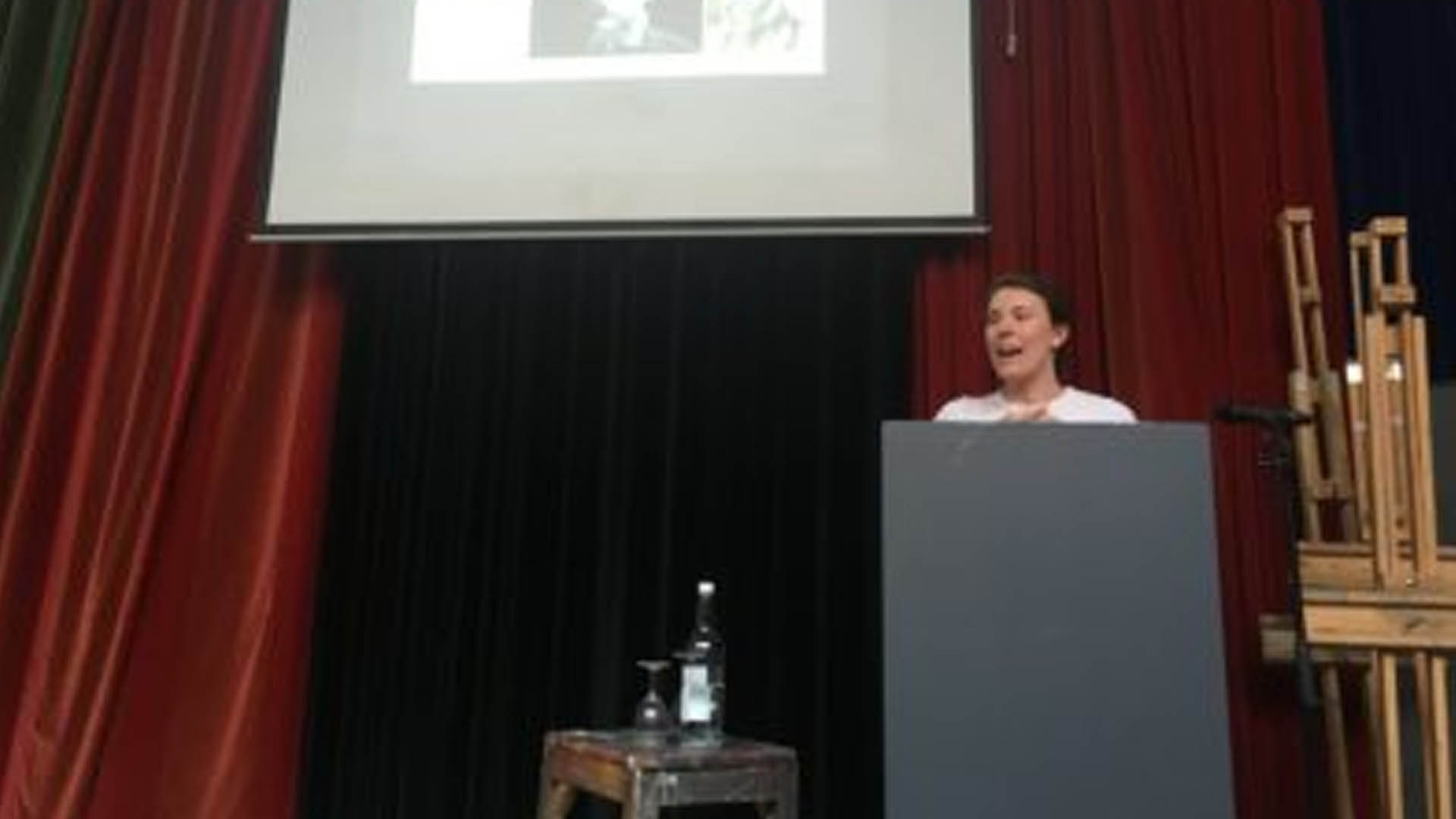 Lillian speaking at the Royal Academy of Arts in London