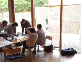 Students working in the Garden Room