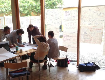Students working in the Garden Room