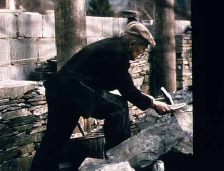 Welsh master craftsmen building slate walls