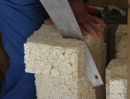 chooping a hempcrete block to size