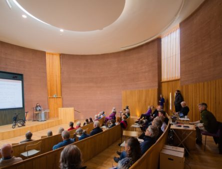 Rammed Earth Wall around the lecture theatre at CAT Graduate School