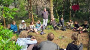 Nature connection workshop in the woodland exploring sustainability and behaviour change