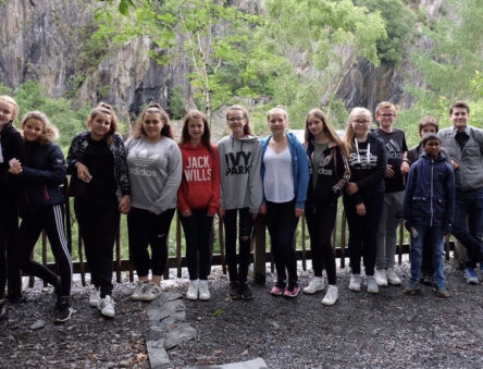 school group on the quarry trail