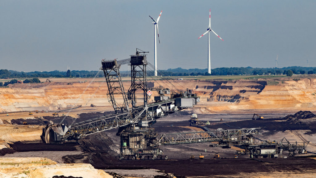 Wind turbines and open cast coal mine