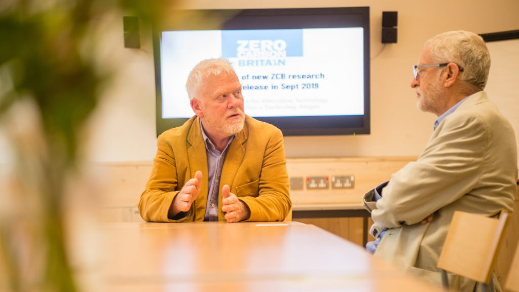 CAT's Paul Allen presents our Zero Carbon Britain research to Jeremy Corbyn, Friday 16 August 2019