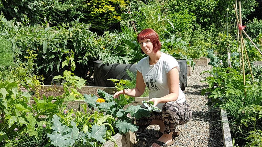 Kim in her garden